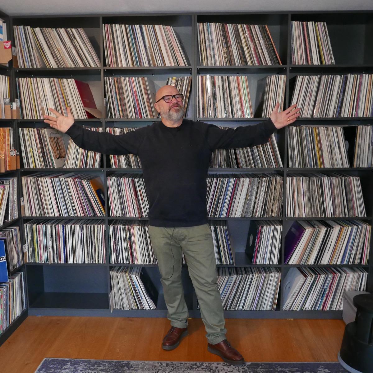 Simon Dunmore in his record room.